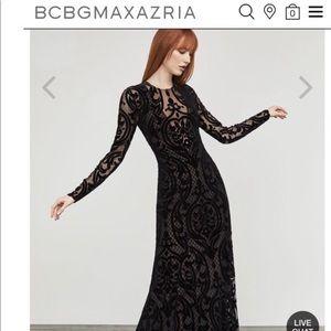 BCBGMaxAzria Selma Black Long-Sleeved Velvet Dress